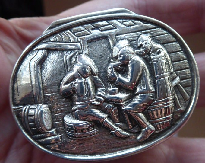 SOLID SILVER 830 Hinged Lid DUTCH Snuff Box  with Ostade Style Tavern Scene. Excellent Vintage Condition