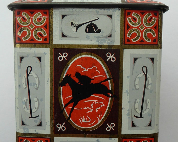 Quirky 1960s Vintage Toffee Tin by Edward Sharp & Son, Kent. Decorated with Stylised Images of Horses