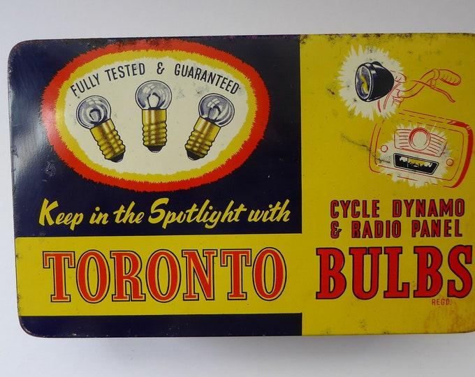 1950s Vintage Tin Full of Original Toronto Light Bulbs for Cycle, Dynamo and Radio Panels. 6 Volt .25 amp