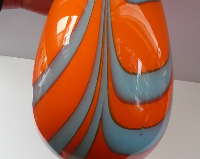 Italian Opaline ZEBRA Stripe Over-Sized Brandy Goblet. RARE Large Mid-Century Glass. 14 inches in height