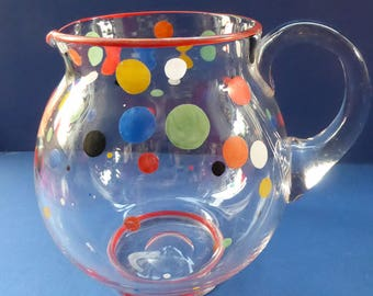 Vintage 1950s Mid Century Glass LEMONADE JUG. Excellent condition with original tutti frutti painted polka dot decorations