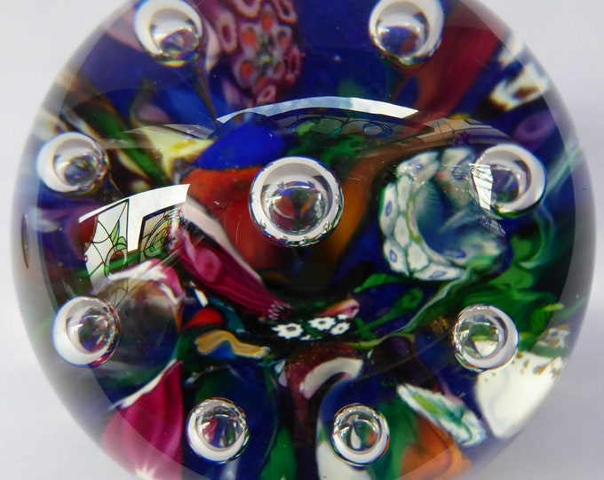 Early SELKIRK GLASS 1980s Scottish HARLEQUIN Paperweight. With etched inscription and date on the base & original paper label.