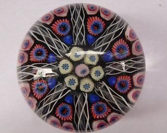 Scottish Glass. Strathearn Millefiori Canes and Latticino Eight Spoke Paperweight