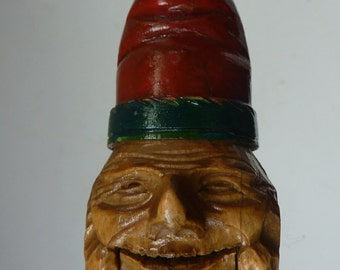 Wooden NUTCRACKER in the Form of a Little Elf or Gnome. 1950s Vintage Folk Art. Really Cute Wee Carved Face