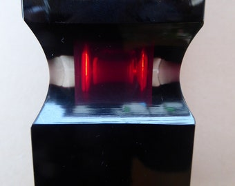Vintage MURANO Facet Cut Block Vase. Original Pagnin & Bon Label. Unusual Vase with Red Core, Faceted Corners and Cube Shapes