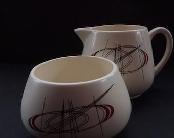 1950s Carlton Ware Orbit Pattern Milk and Sugar Jug. Highly Collectable Vintage Space Age Design