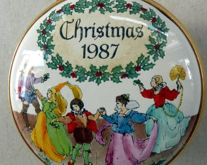 1987 Halycon Days Enamels Christmas Box. Medieval Dancers. Excellent Vintage Condition