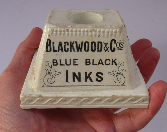 VICTORIAN INKWELL. Very Rare Antique Ceramic Inkwell Advertising Blackwood & Co Inks, c 1850
