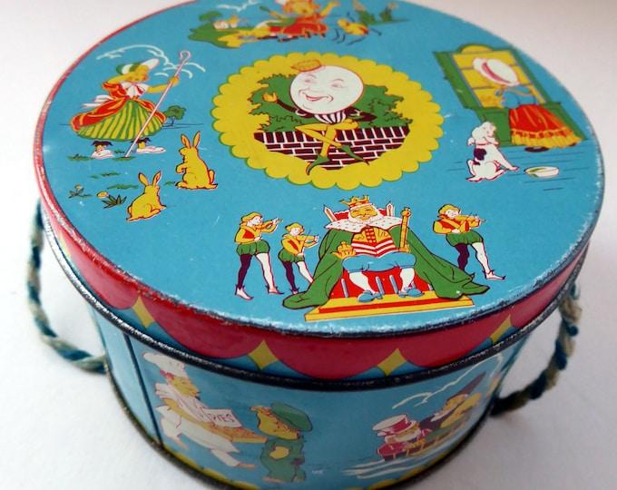1950s NURSERY RHYMES Sweetie Tin. Wilkin's Ltd. Includes: Humpty Dumpty, Mary Had a Little Lamb, Jack and Jill etc