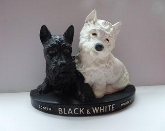 Vintage 1950s BLACK & WHITE Scotch Whisky Scottie Dogs Bar Top Advertising Figure