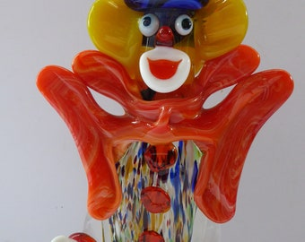 LARGE 11 3/4 inches Vintage MURANO GLASS Clown. Blue Top Hat and Massive Butterfly Like Orange Bow