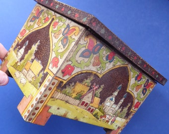 ANTIQUE Biscuit Tin. Very Rare, Early Huntley & Palmer Tin in the frm of a Russian Casket, c 1911