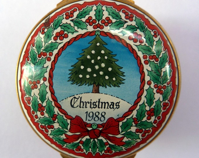Vintage Halcyon Days Enamels Christmas Box 1988. Christmas Tree & Holly Motifs. Excellent Condition