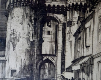 SCOTTISH ART. William Wilson (1905 - 1972). Gateway: City Walls, Chartres. ETCHING. Signed and Titled in Pencil