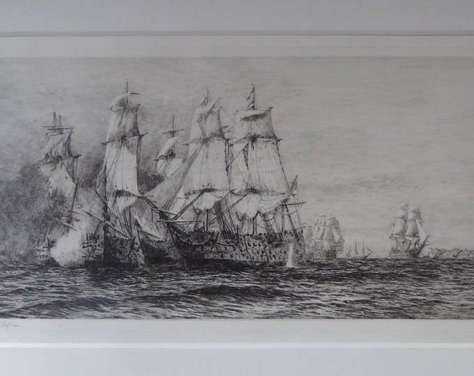 ORIGINAL ETCHING: William Lionel Wyllie (1851 – 1931) Battle of Trafalgar; c 1920. Pencil Signed