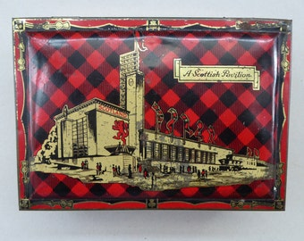 Rare Survivor Glasgow Empire Exhibition Shortbread Tin 1938; with an Image of the Scottish Pavilion