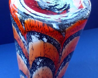 Large Mid Century Italian ZEBRA Stripe Orange and White Tubular Shaped Vase. 13 1/4 inches in height