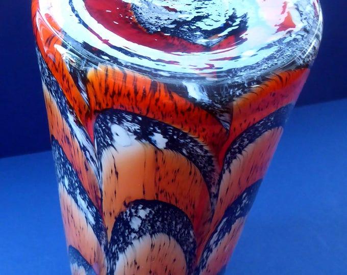 Large Mid Century Italian ZEBRA Stripe Orange and White Tubular Shaped Vase. 13 1/4 inches in height