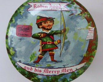 Vintage 1960s THORNE'S Toffee Tin: Robin Hood and his Merry Men Design