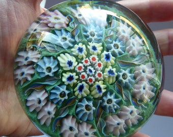 Vintage Scottish Paperweight 1950s VASART GLASS. Carpet of Millefiori Canes and Half Length Latticino Canes. Original Paper Label