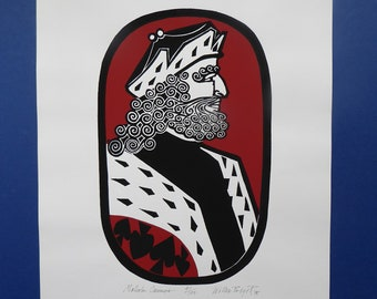 SCOTTISH ART. 1975 Original Willie Rodger Linocut on paper. Historical Figures: Malcolm Canmore. SIGNED in pencil