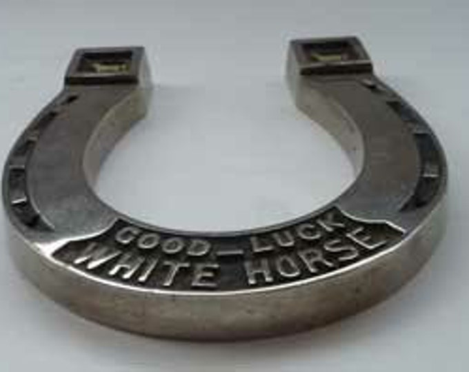 1930s WHISKY ADVERTSING Collectable in the Form of a Horseshoe. Vintage White Horse Whisky Souvenir