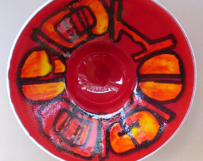 1960s POOLE Strange Footed Bowl. Fantastic Abstract Design by Carole Cutler. Diameter 9 1/4 inches