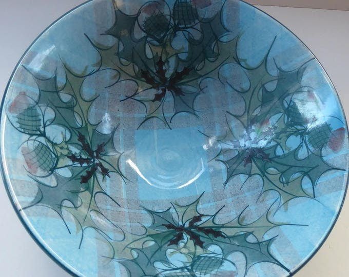 HUGE Scottish TAIN POTTERY Harvest Stoneware Bowl. With Hand Painted Plaid and Thistles Decoration. 10 1/4 inches diameter