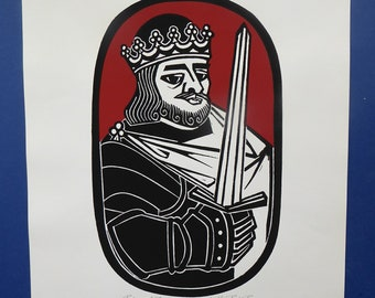 SCOTTISH ART. 1975 Original Willie Rodger Linocut on paper. Historical Figures: Robert the Bruce. SIGNED in pencil