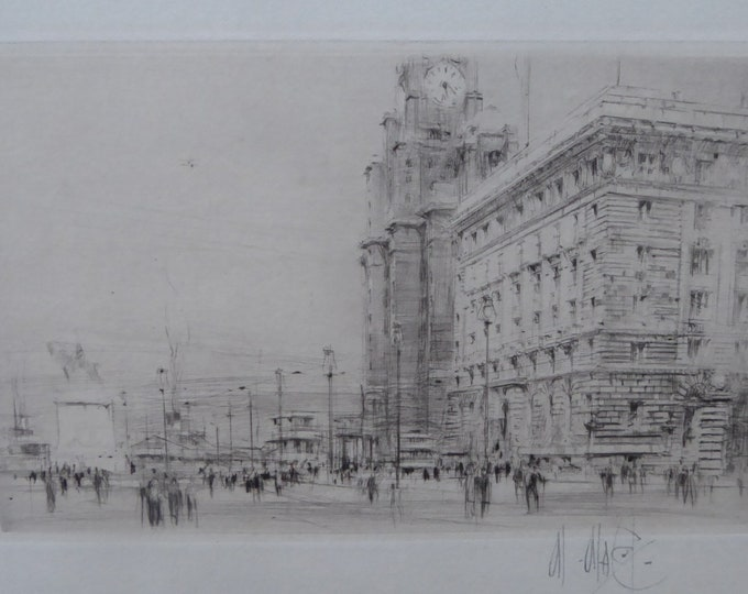 LISTED ARTIST. William Walcot (1874 - 1943)  The Cunard Building, Liverpool. Pencil Signed, 1923
