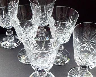 LARGE Pair of Vintage 1950s EDINBURGH CRYSTAL Wine Glasses. Star of Edinburgh Pattern. Etched Mark. 1st Quality