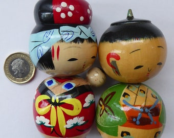 GENUINE Vintage JAPANESE Hand Carved and Hand Painted Kokeshi Couple Dolls; c 1960s