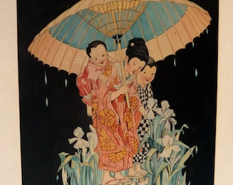 Genuine 1930s ART DECO Watercolour - Japanese Lady and Two Children Sheltering under a Parasol. Signed and Dated 1933