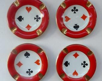 Polish CHODZIEZ Mid-Century Porcelain Ashtrays / Dishes. Four Playing Cards Design for BRIDGE