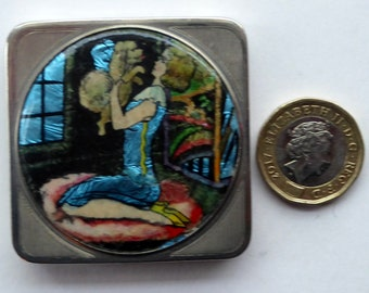 Vintage 1930S Miniature Chrome Powder Compact STRATNOID with Foil Image of Pretty Lady with Her Little White Dog
