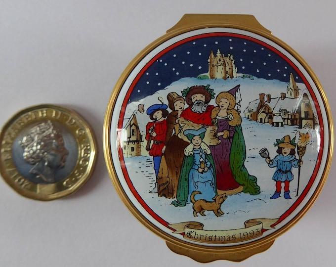 Vintage Halcyon Days Enamels Christmas Box 1993. Medieval Carol Singers. Excellent Condition
