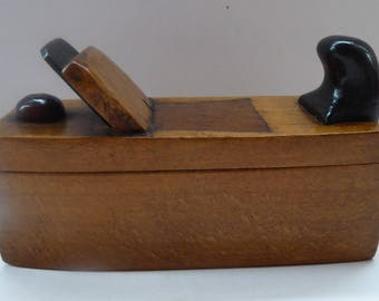 Antique NOVELTY Snuff Puzzle Box in the Shape of a Carpenter's Woodworking Plane
