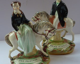 Gorgeous & Rare Pair of STAFFORDSHIRE FIGURES. The Prince and Princess of Wales on Horseback