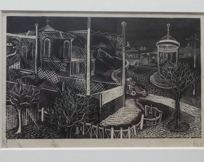 ORIGINAL Vintage Scottish Woodcut by Kenneth Roberts (1932 - 1995). Strange Park Scene. Possibly 1940s in date