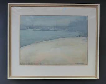 1925 WATERCOLOUR STUDY. Arthur Henry Knighton-Hammond (1875 – 1970). London Bridge from the Tower