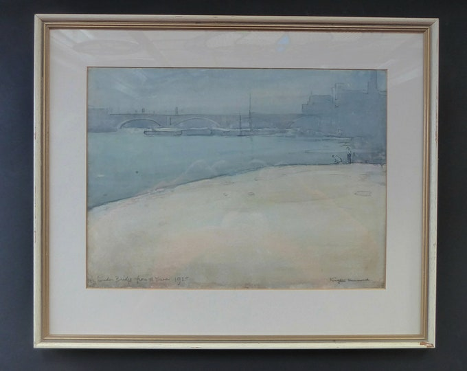 1925 WATERCOLOUR STUDY. Arthur Henry Knighton-Hammond (1875 – 1970). London Bridge from the Tower