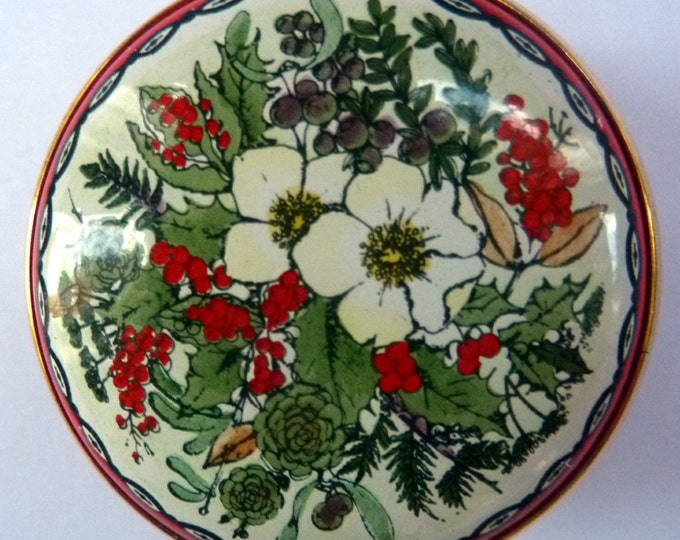 Vintage Halcyon Days Enamels Christmas Box 1983. Traditional Image of Christmas Flowers. Excellent Condition