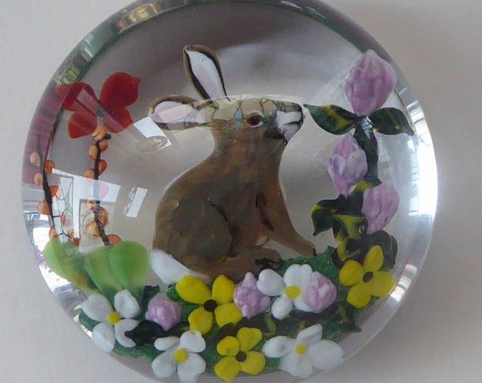 Rare RICK AYOTTE Limited Edition 1985 Paperweight: Grey Rabbit in Colouroful Floral Garden. SIGNED