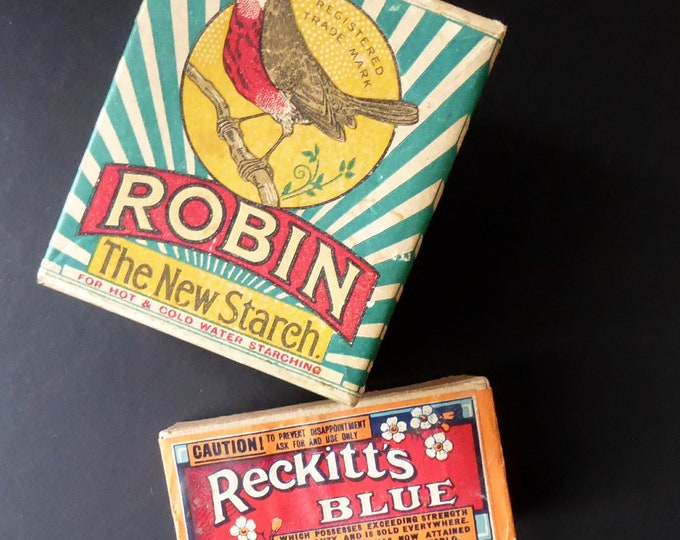 WASHDAY BLUES. Two 1930s Vintage Advertising Collectables. Full Packet of Robin Starch & Packet of Reckitt's Blue