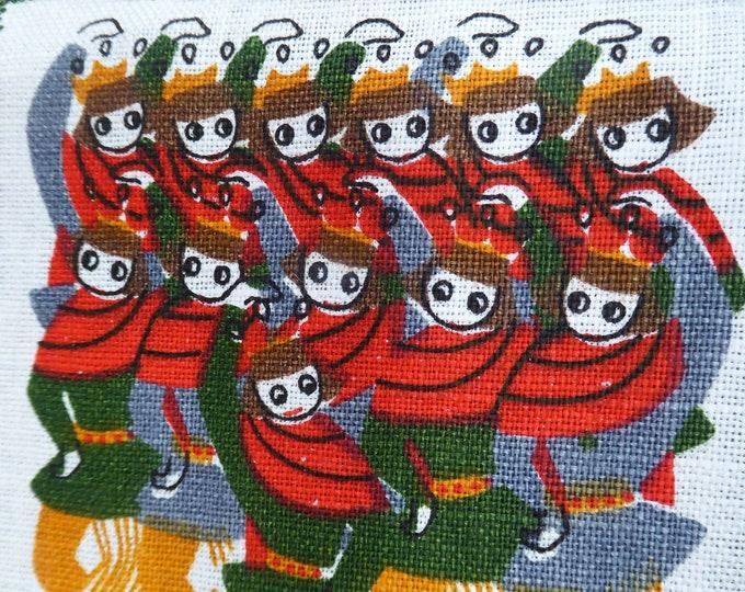 PRISTINE Irish Linen Tea Towel: Vintage 1960s with Design Featuring the Twelve Days of Christmas. Unused