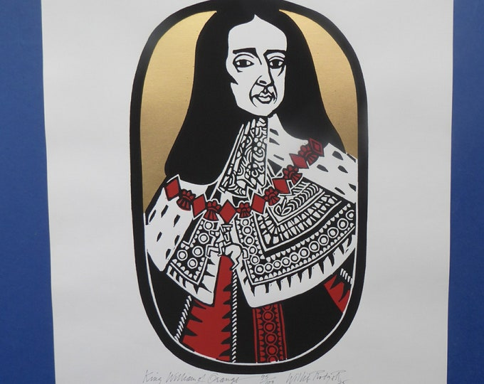 SCOTTISH ART. 1975 Original Willie Rodger Linocut on paper. Historical Figures: William of Orange. SIGNED in pencil