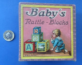 Antique Victorian 1900 Wooden Baby's Rattle Blocks Puzzle Game. Made in Germany