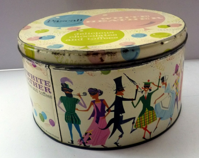 Large STORAGE BOX. Early 1960s Sweetie Tin for Pascall's White Heather Chocolates and Toffees. Fabulous Vintage Design