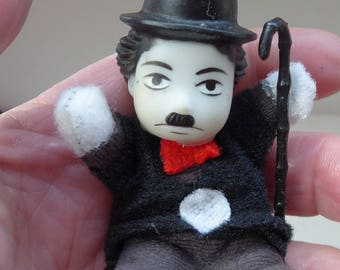 Vintage CHARLIE CHAPLIN Miniature Doll in a Matchbox; by Bubbles. Rare vintage 1980s Collector's Item
