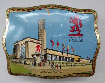 Rare Survivor Glasgow Empire Exhibition Sweetie Tin 1938; with an Image of the Scottish Pavilion